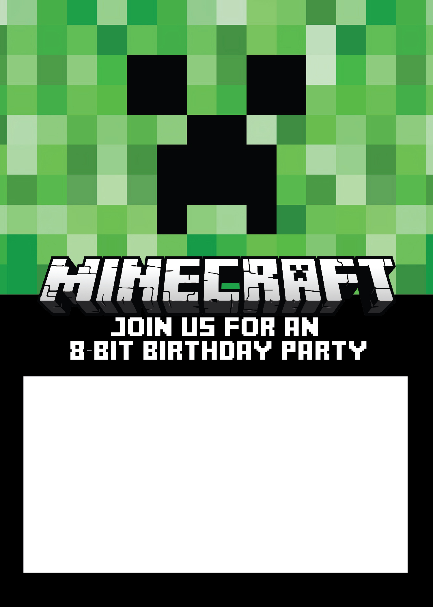 Blank Birthday Invitation Template Minecraft Free - Blank birthday invitation card templates