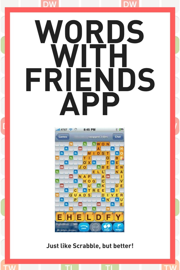 Original app screen shot of Words with Friends app