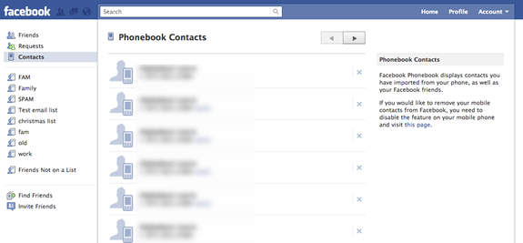 facebook contacts how to remove phone numbers