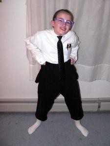 nerd costume girl with geek glasses high pants tie
