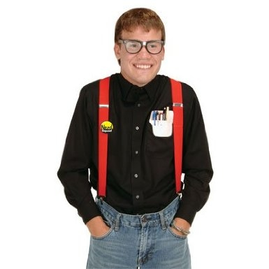 nerd costume kit featuring geeky guy with glasses suspenders pocket protector