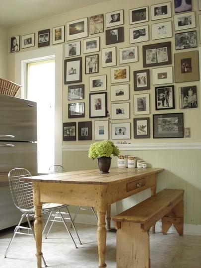 kitchen wall photo frames - gallery wall idea