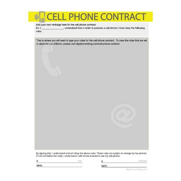 blank cell phone contract