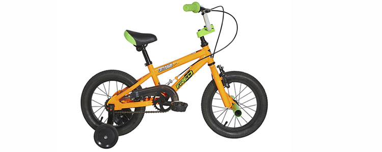 yellow Tony Hawk Toddler Bicycle with training wheels and front break