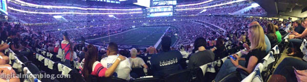 dallas cowboy stadium panoramic view people wearing cowboys apparel