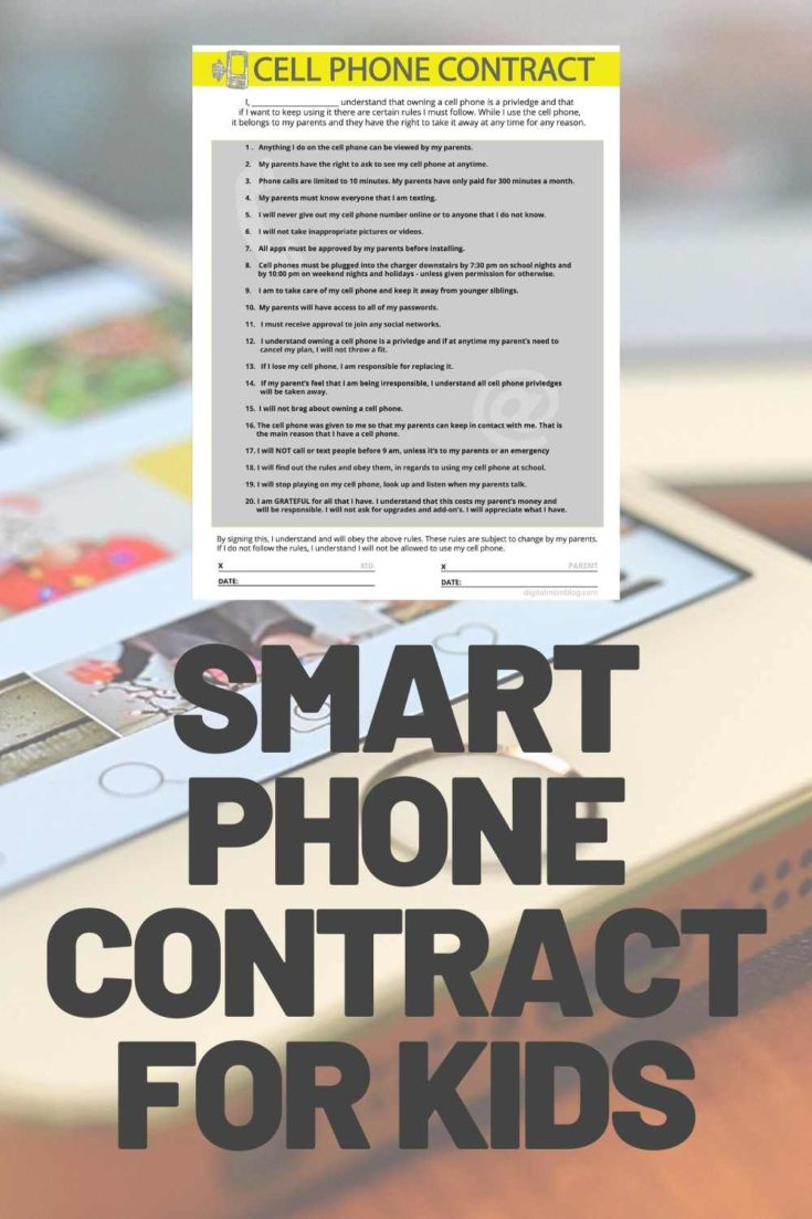 kids smart phone use contract