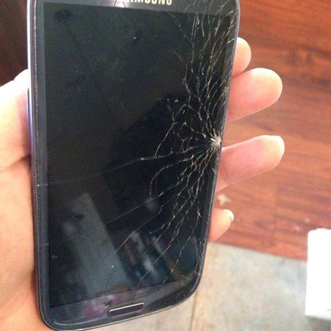 broken cell phone screen - buy a protective case
