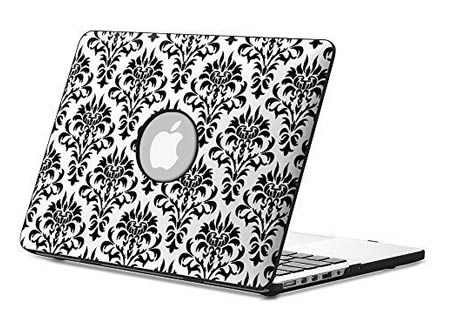 damsack Fintie Hard Shell Leather MacBook Pro 13 Retina Case black and white
