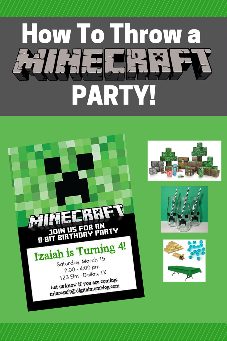 How To Throw a Minecraft Party - Minecraft Party Ideas Tip Decor invitations