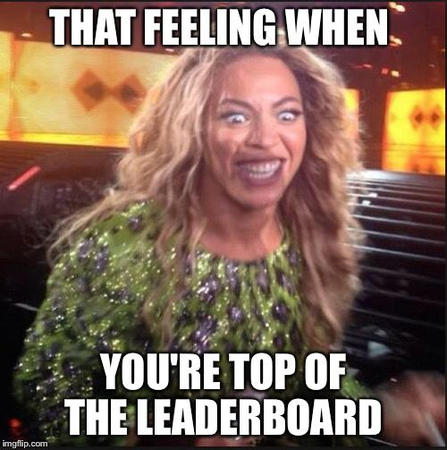 When you top the leaderboard - Beyonce meme