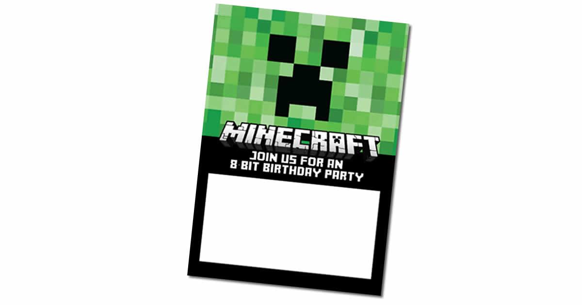 free minecraft birthday invites