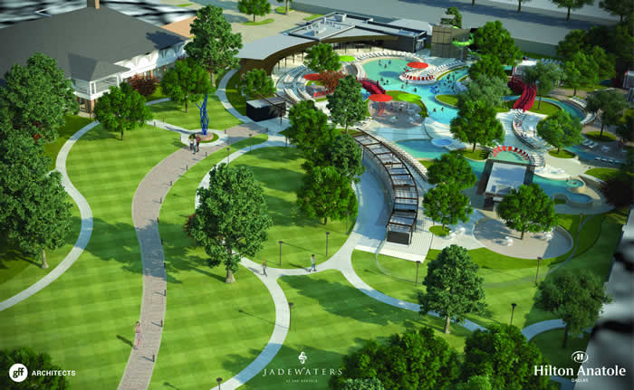 the estimated $15 million project will convert a portion of the hotel's seven-?acre Sculpture Park and Tennis Courts into a world-?class water facility, unparalleled in North Texas. Designed to attract leisure and family guests throughout the summer season, the project will encompass approximately three acres and include multiple heated swimming pools and recreation areas, as well as enhanced walking paths and green spaces. New food and beverage options will also be added in the form of a new outdoor restaurant and bar, as well as a separate 23-?seat swim-?up bar. The project is scheduled for completion by July 22, 2016. The project's sophisticated design, architecture and landscaping will draw inspiration from the modern Asian influences present throughout the Hilton Anatole Hotel. Comprised of a leisure pool, beach-?entry family pool, lazy river, luxury cabanas, and splash zone with two 180-?foot slides, the new addition will offer a relaxed upscale atmosphere complete with artwork displayed throughout the pool area. The full complex will be open from July 22 through Labor Day this year, with the leisure pool operation year round. The project will also include two new event lawns, each with the capacity to hold 200 people, complementing the hotel's existing park space and ability to host large outdoor functions for up to 3,000 people. Groups will also be able to utilize the poolside