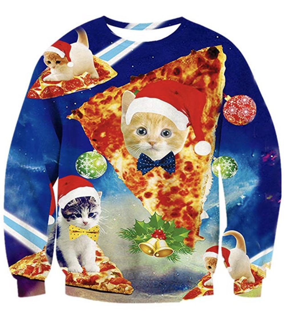 Pizza Cat Ugly Christmas Sweater