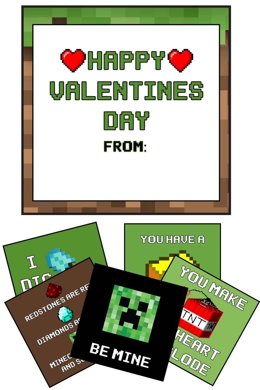 back side minecraft valentine day card
