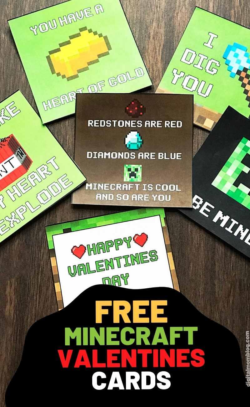 free minecraft valentine cards