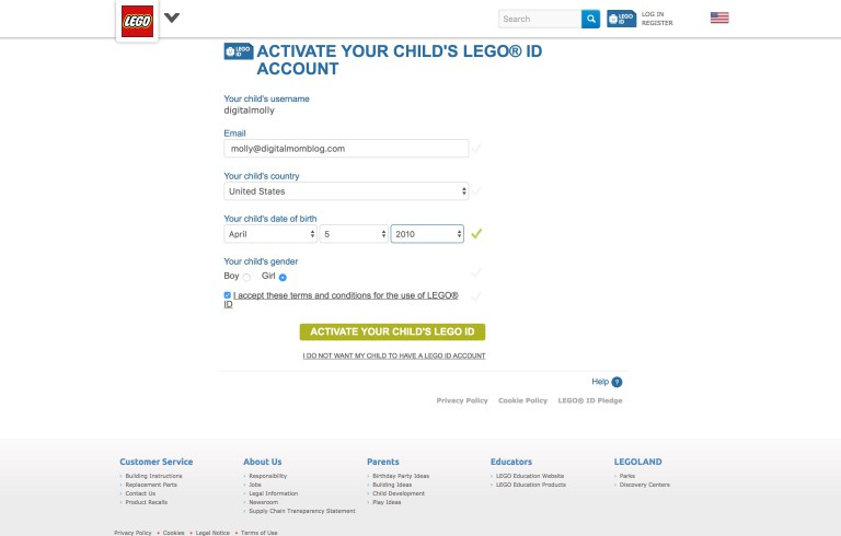 LEGO Life App Account Confirmation