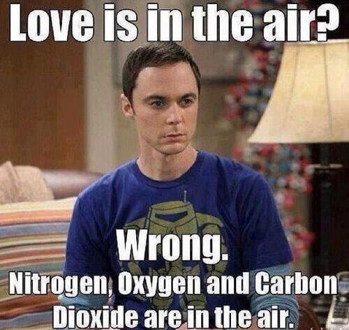 Love is in the air? Wrong. Nitrogen, oxygen and carbon dioxide are in the air. - funny valentine meme