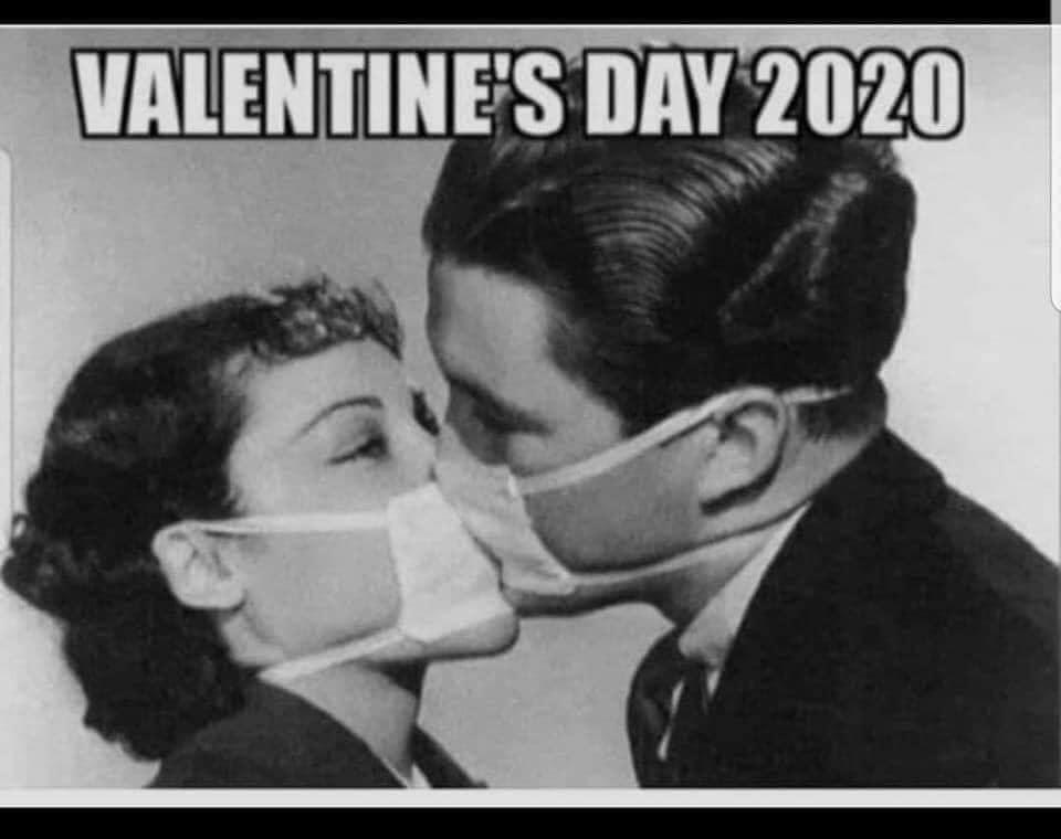 valentines day 2020 meme kissing flu mask