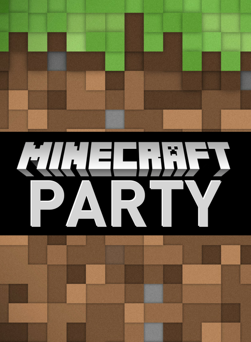 Minecraft graphic for invitations 500x680 evite size