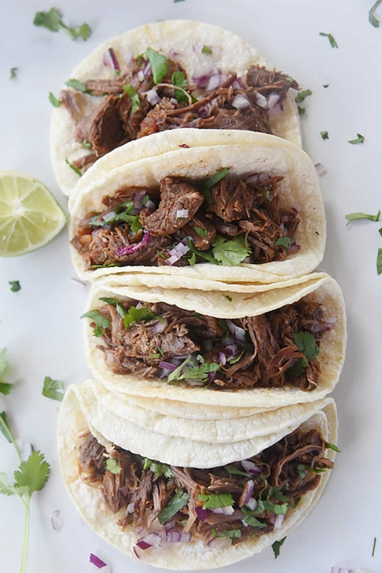 shredded mexican beef in tacos