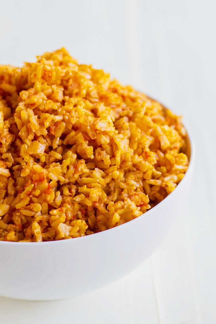 Spanish rice in a bowl made from instant pot