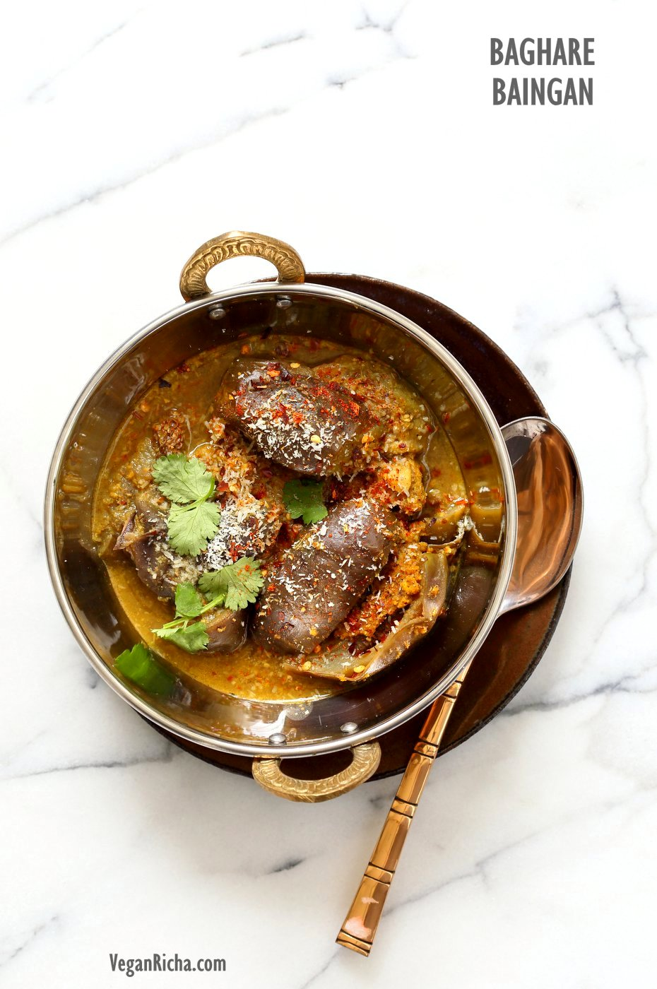 Eggplant curry Instant Pot Indian Recipes in a copper bowl