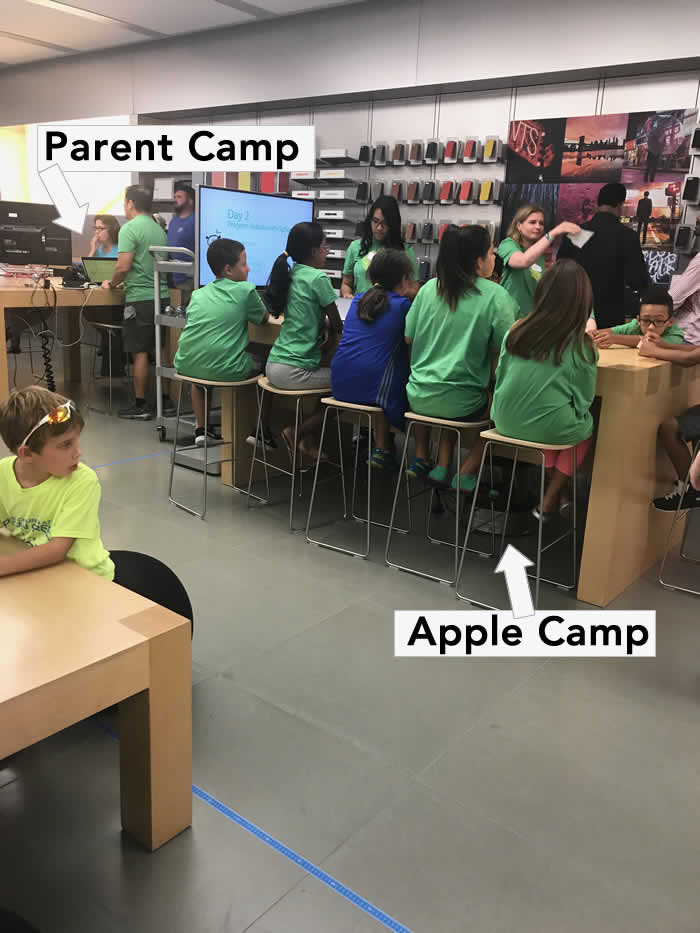 parent camp at the apple store