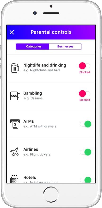 limit teen spending - current app