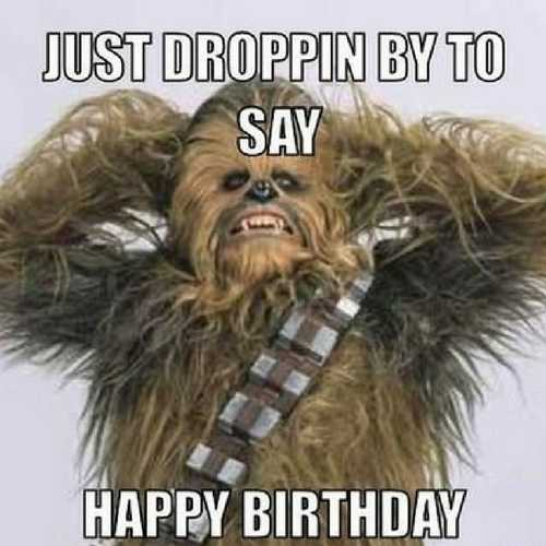 Chewbacca Star wars happy birthday meme