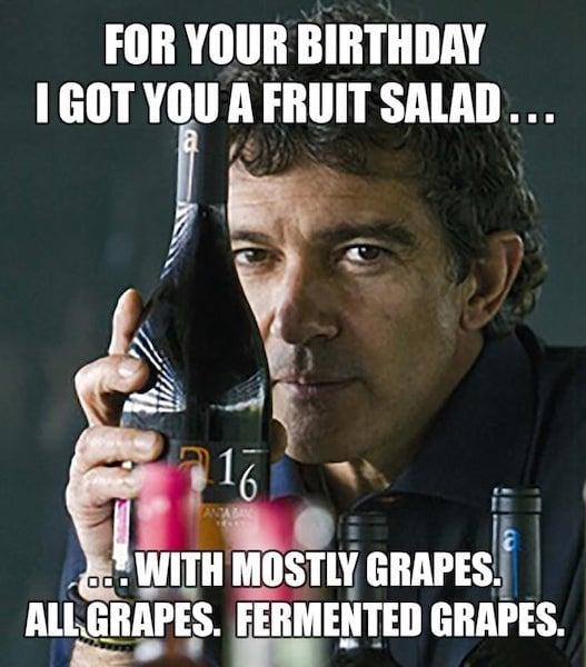 happy birthday wine fruit salad