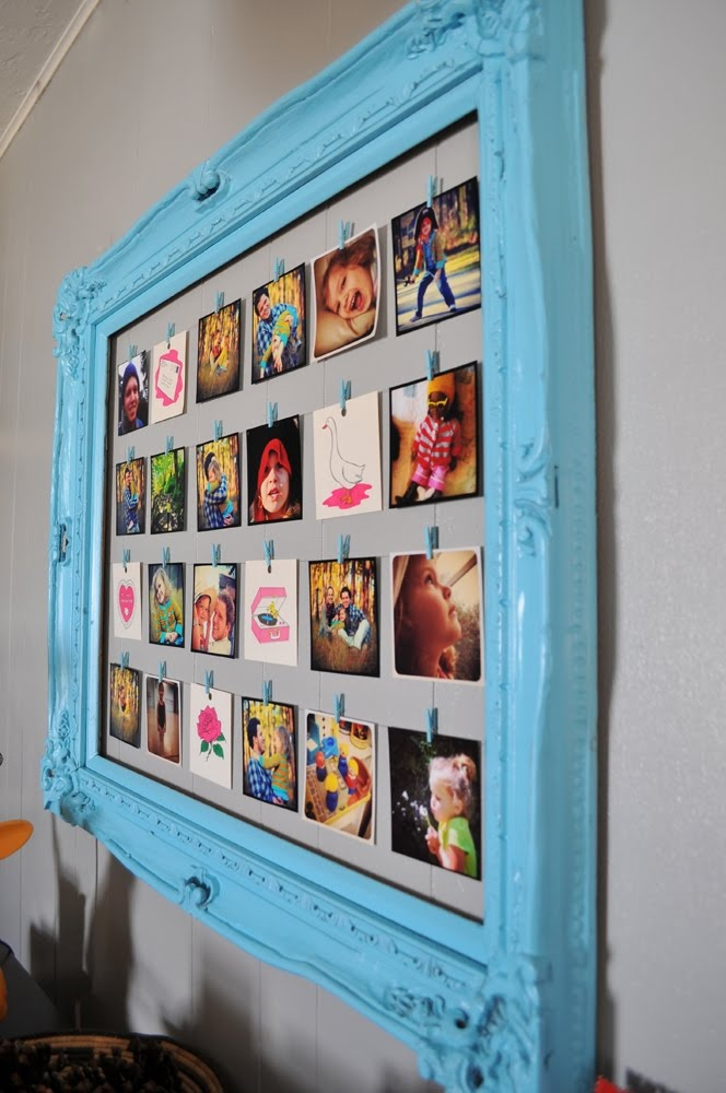 Blue Frame Hanging Photos