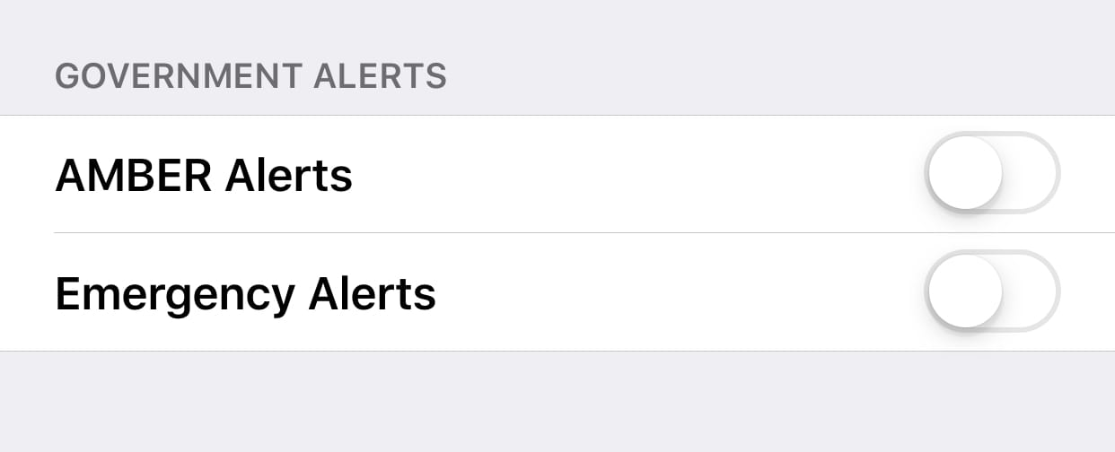 government alerts off switch iphone