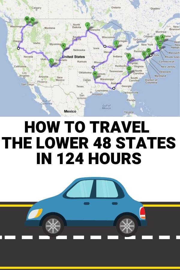 road trip lower 48 states in 124 hours