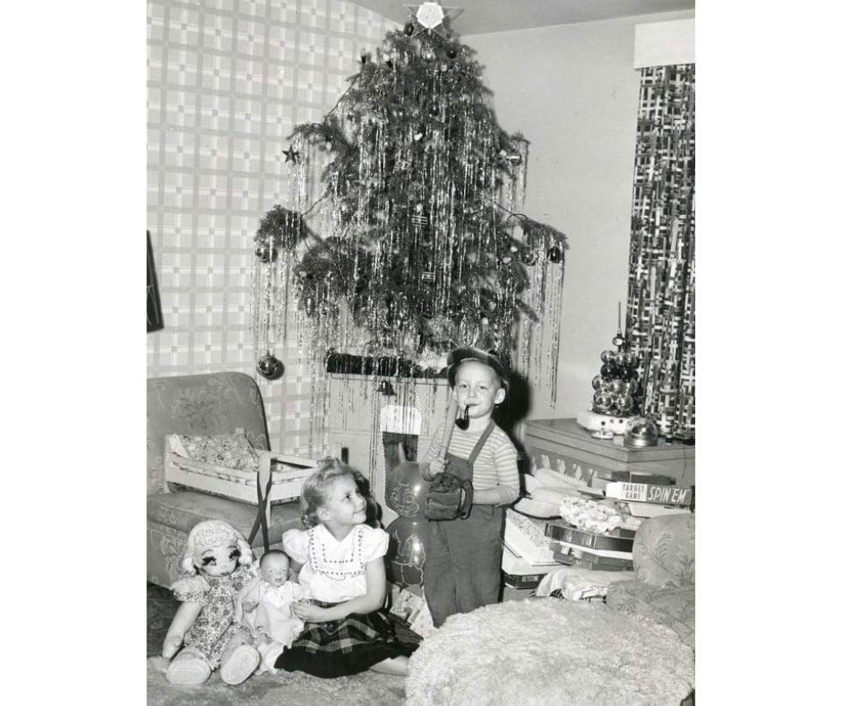 vintage Christmas tree kid smoking pipe