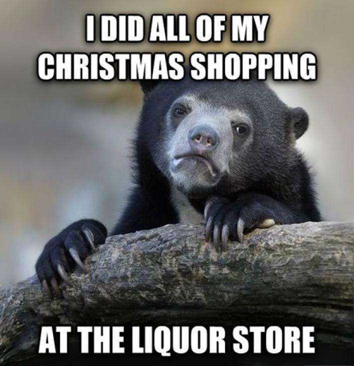 buying gifts at the liquor store