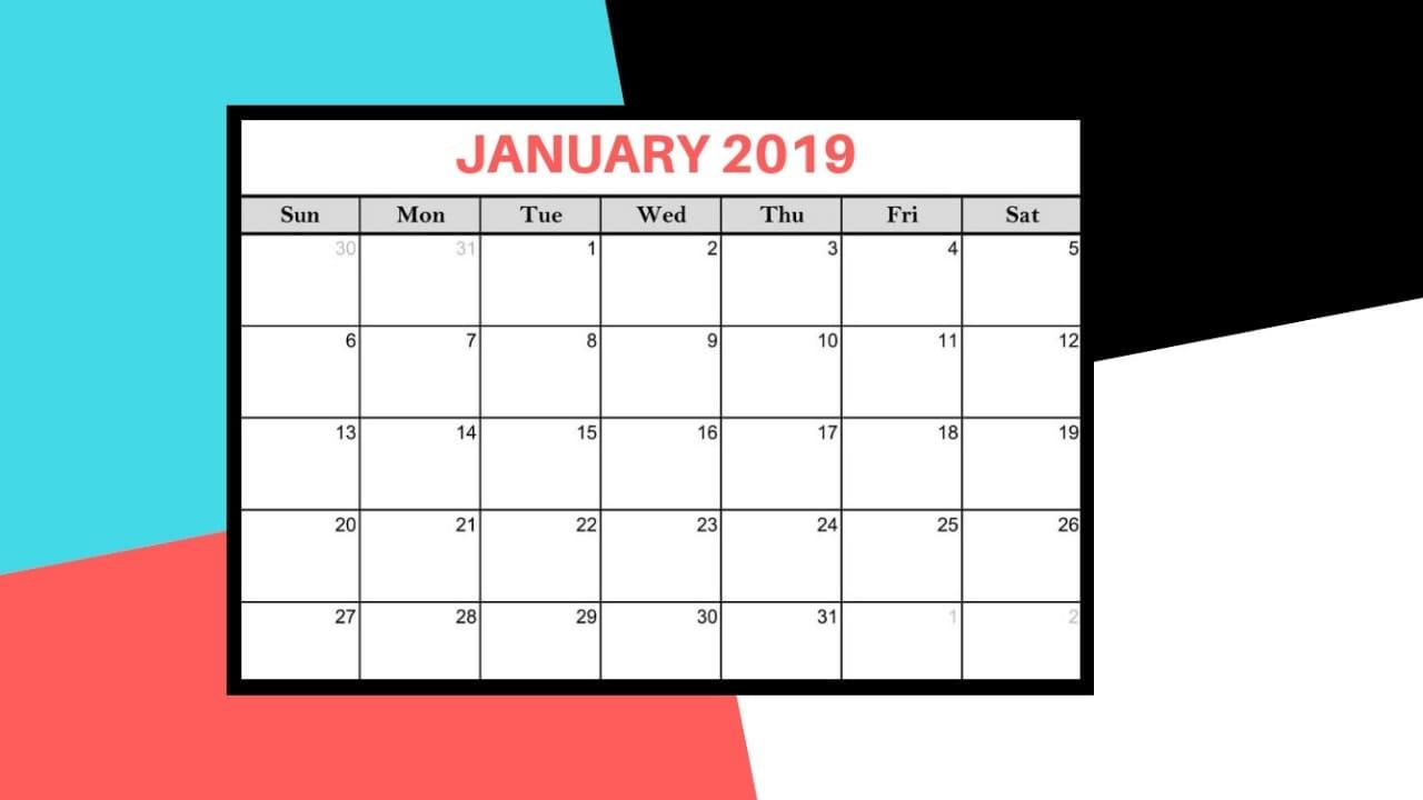2019 calendar for january 2019