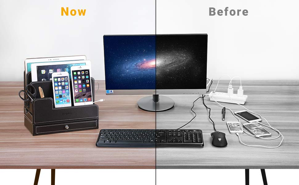 before and after desk photo with and without desk multiple device charging station made for the office