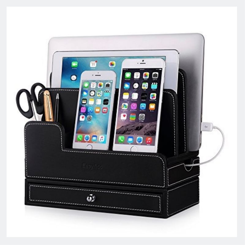 leather desktop charging station multiple devices ipad phone charger