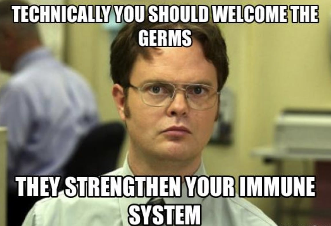 Technically you should welcome the germs they strengthen your immune system Dwight office memes