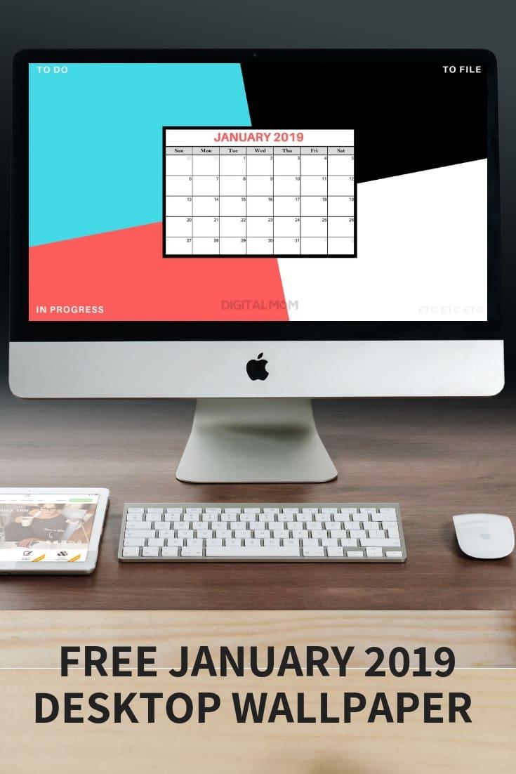 january 2019 calendar desktop wallpaper