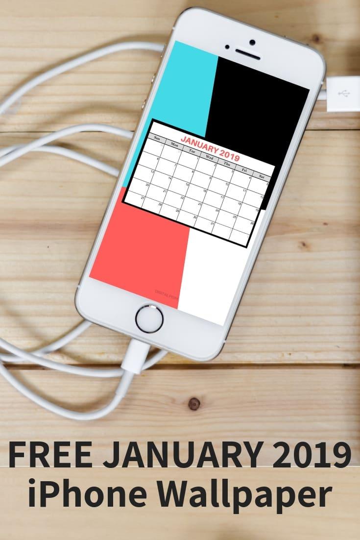 january 2019 iPhone wallpaper calendar