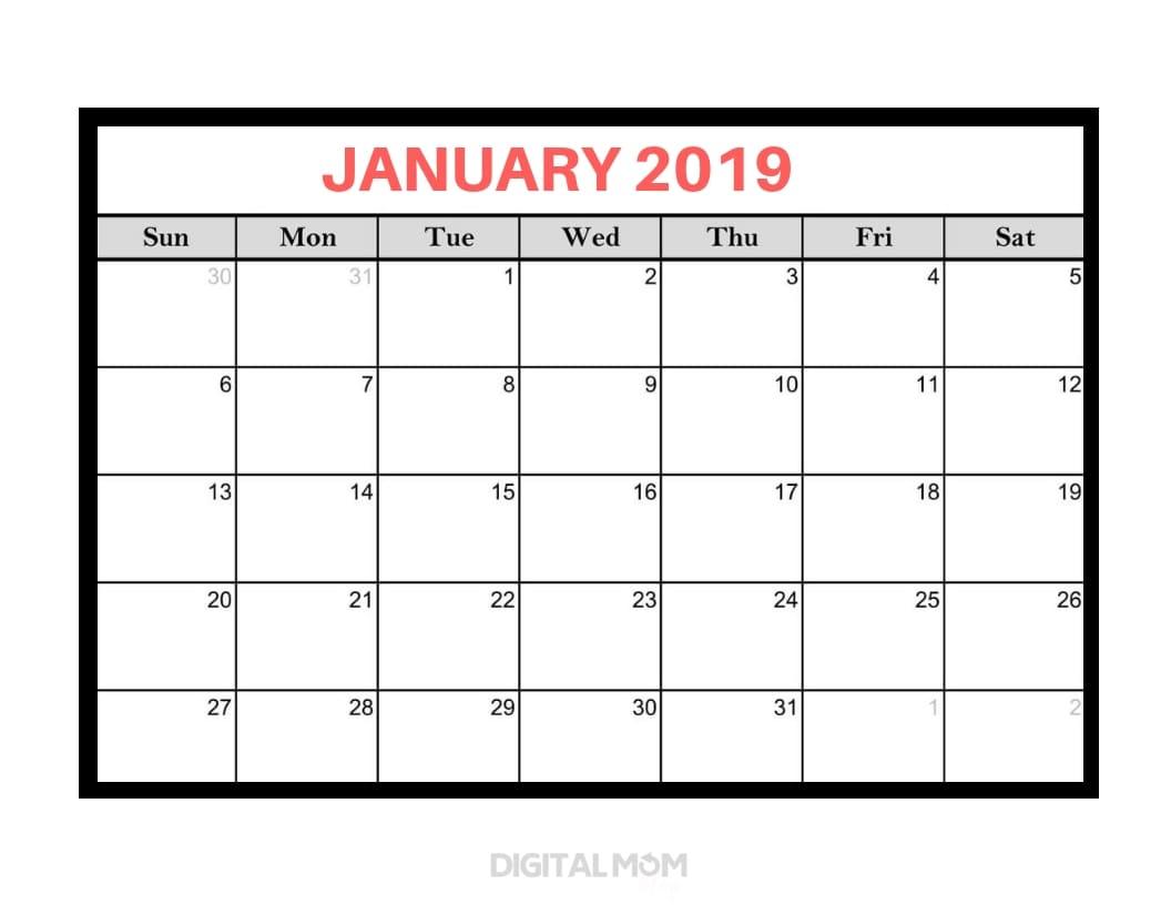 black and white january 2019 calendar