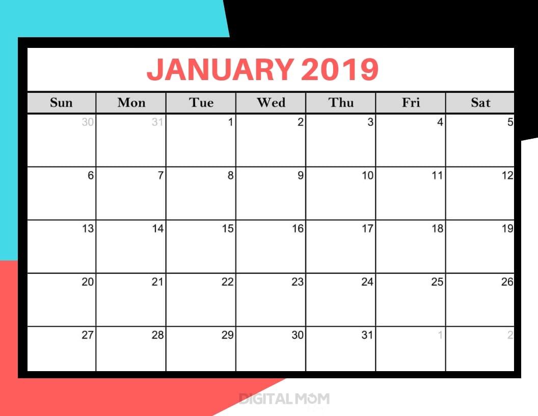 january 2019 printable calendar pdf