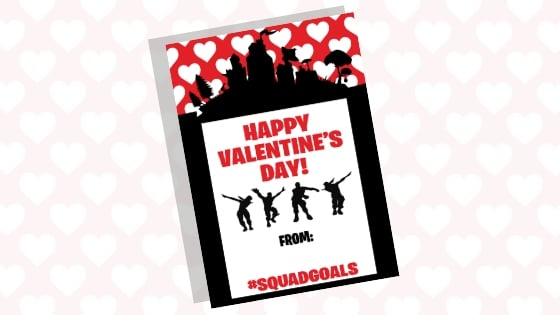 Download our free Fornite valentine card printable