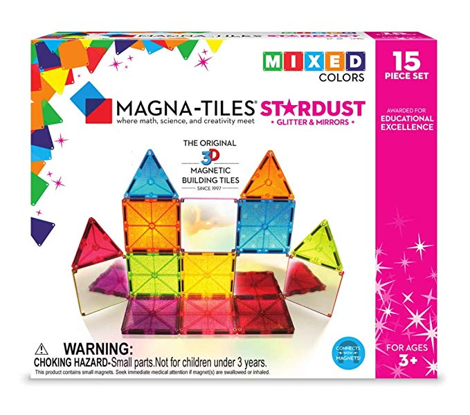 Magna-Tiles 18915 15Piece Stardust Set, The Original, Award-Winning Magnetic Building Tiles, Creativity & Educational, Stem Approved, Glitter and Mirrors (Pack of 15)