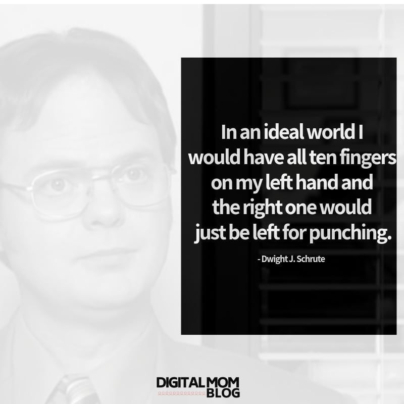 In an ideal world I would have all ten fingers on my left hand and the right one would just be left for punching. - Dwight Schrute Quote