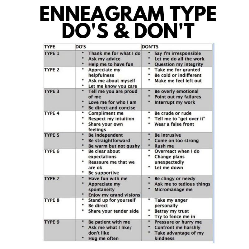 enneagram type dos and dont enneagram meme