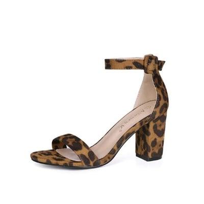 leopard print chunky heels
