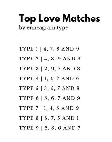 love matches enneagram