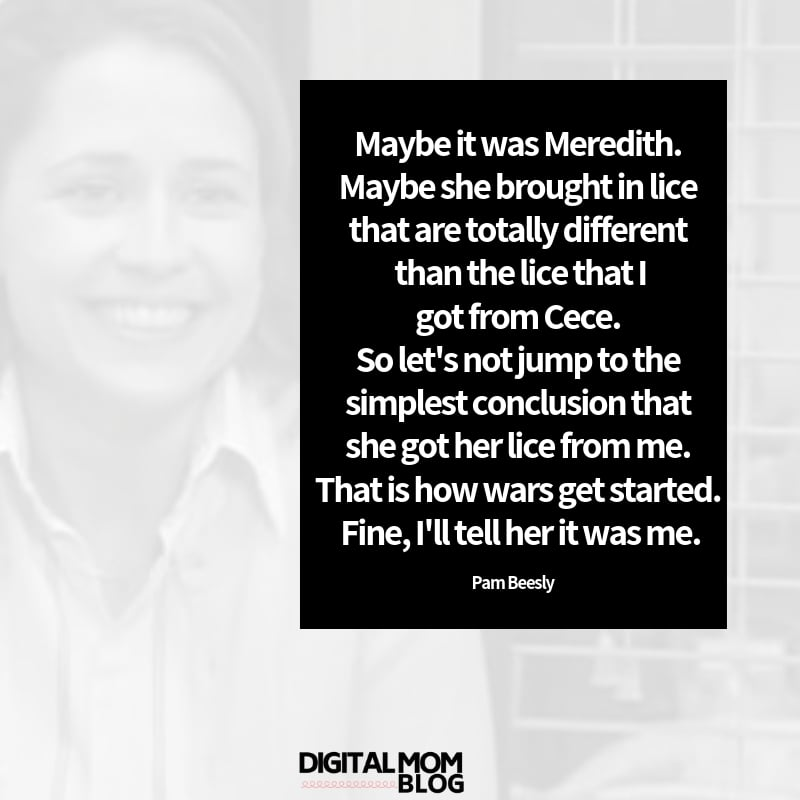 Maybe it was Meredith. Maybe she brought in lice that are totally different than the lice that i got from Cece. So let's not jump to the simplest conclusion that she got her lice from me. That is how wars get started. Fine, I'll tell her it was me. - Pam Beelsy